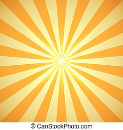 Yellow sun burst with light flare in the center vector background