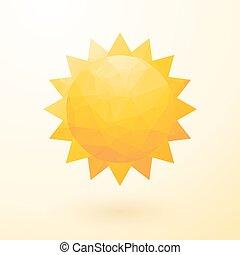 yellow sun composed of small tria