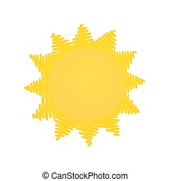Yellow sun doodle - Simple outlined yellow sun doodle icon...