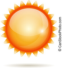 Yellow sun icon - Yellow sun vector glossy label isolated on...
