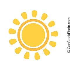 Yellow sun icon - Simple yellow flat sun icon illustration