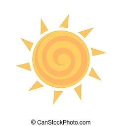 Yellow sun icon. Vector illustration