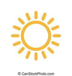 Yellow sun icon. Vector illustration - Yellow sun icon in...