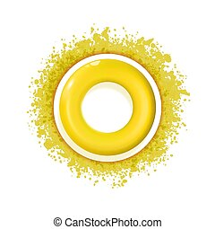 Yellow Sun icon with rays out of blot. Sign or logo design with cute sun. Aggregated vector illustration. eps 10