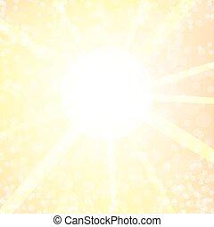 Yellow Sun - Summer Yellow Sun Light on Blurred Background
