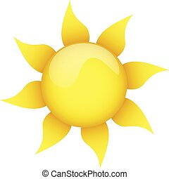 yellow sun on a white background isolated