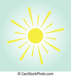 Yellow sun on blue background