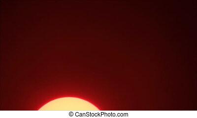 Yellow sun on red sky