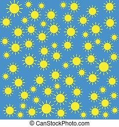 Yellow sun pattern on blue background
