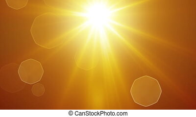yellow sun rays and lens flare loopable background