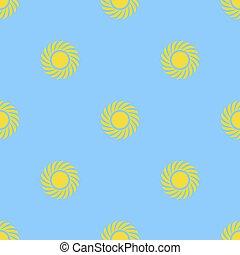 Yellow Sun Seamless Pattern on Blue Background
