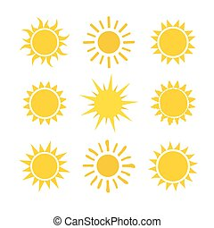 Yellow sun set icons isolated on white background.
