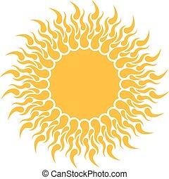 Yellow sun shape isolated on white background.