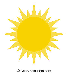 Yellow Sun Shining Cartoon Character