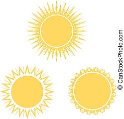 yellow sun symbol set, sign, icon