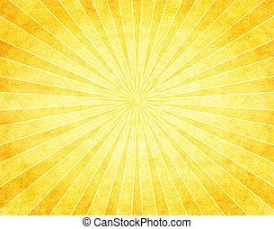 Yellow Sunburst on Paper - A bright yellow sunbeam pattern...