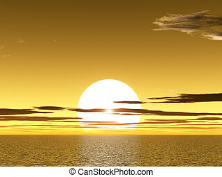Yellow sunet above ocean