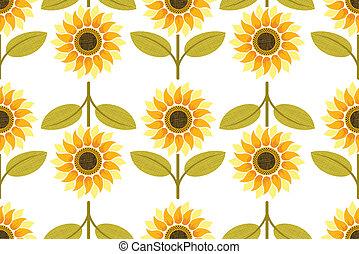 yellow sunflower seamless pattern