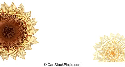 Yellow sunflowers. Vector flower element for design