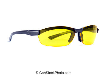 Yellow sunglasses. Angle view.