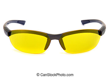 Yellow sunglasses. Front view.