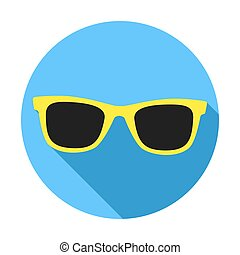 Yellow Sunglasses icon with long shadow. Flat design style.