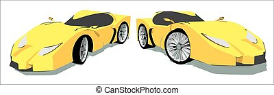 Yellow super car isolated on white background, seen from two...