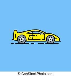 Yellow supercar line icon. Classic sports car symbol. Retro...