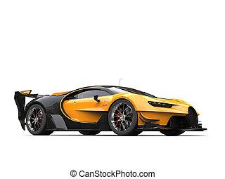 Yellow supercar studio shot
