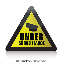 yellow surveillance sign