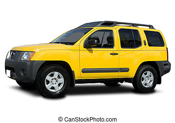 Yellow SUV - A Yellow Sport Utility Vehicle Isolated on...