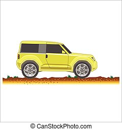 yellow suv car off-road 4x4 icon colored