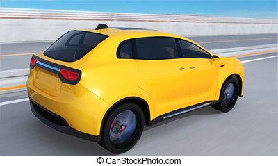 Yellow SUV driving on arc bridge - Yellow electric SUV...