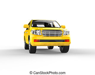 Yellow SUV isolated on white front