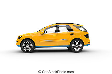 Yellow SUV Side View