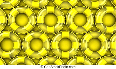 Yellow swim rings on yellow background. Loop able 3DCG...