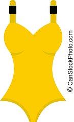 Yellow swimsuit icon isolated