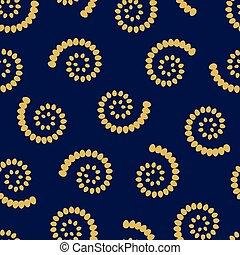 Yellow swirls on blue background seamless pattern