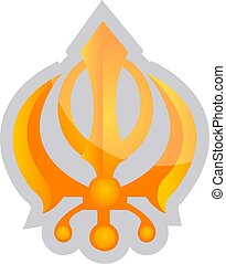 Yellow symbol of a Sikhism religion vector illustration on a...