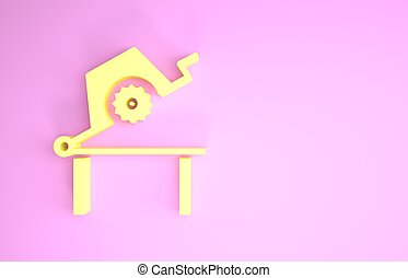Yellow Table saw for woodwork icon isolated on pink background. Power saw bench. Minimalism concept. 3d illustration 3D render