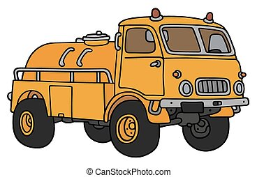 Yellow tank truck - Hand drawing of an old yellow small tank...