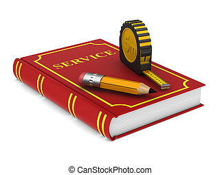 yellow tape measure and pencil and red book on white background. isolated 3d illustration