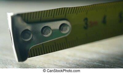 Yellow tape measure macro shot