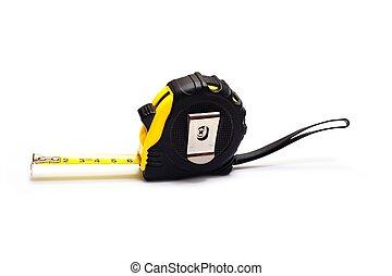 Yellow tape-measurer - Extended retractable tape measurer on...