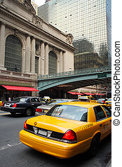 Yellow taxi at Grand Central Terminal