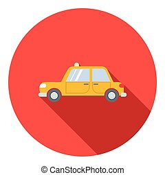 Yellow taxi car icon, flat style