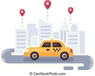 Yellow taxi car on the road. Taxi service flat illustration banner