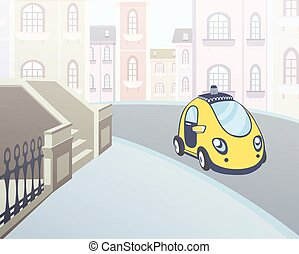 Taxi car parked at a house entrance in the street of the city. Vector illustration.
