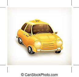 Yellow taxi car, vector icon, isolated on white background