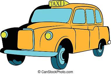 Yellow taxi icon cartoon